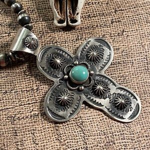 Chimney Butte Turquoise & Sterling Cross Pendant